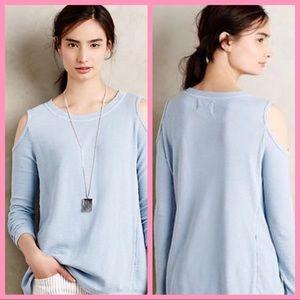 SOL ANGELES | Cold Shoulder Blue Cotton Pullover